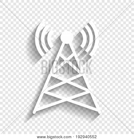 Antenna sign illustration. Vector. White icon with soft shadow on transparent background.