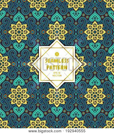 Vintage floral seamless pattern. Eastern style tribal ornament. Ornamental ethnic background collection. Can be used for fabric prints surface textures cloth design wrapping. EPS 10 vector backdrop