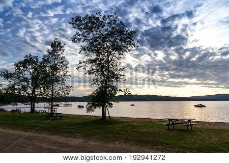 Sunset landscape at Maskinonge Lake St-Gabriel-de-Brandon Quebec Canada