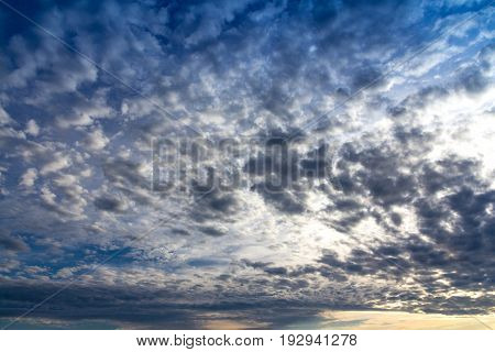 view of an altocumulus cloud at sunset