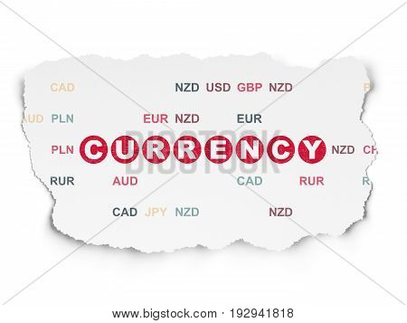 Money concept: Painted red text Currency on Torn Paper background with  Currency