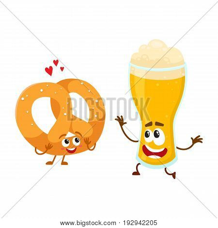Happy aluminium beer glass and salty pretzel characters having fun together, cartoon vector illustration isolated on white background. Funny smiling beer glass and pretzel characters, good company