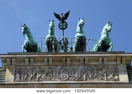 Berlin, Germany - May 11, 2017: The Brandenburg Gate is an 18th century neoclassical monument in Berlin, Germany