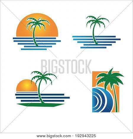 Vector of coconut trees or palm trees on the beach with sunset as background