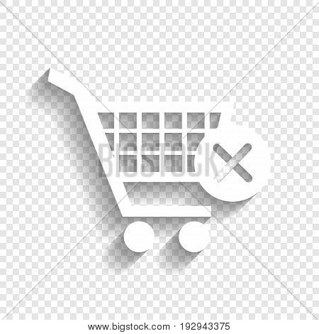 Shopping Cart with delete sign. Vector. White icon with soft shadow on transparent background.