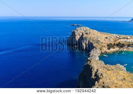 Agios Pavlos Lindos Beach At Rhodes Island.