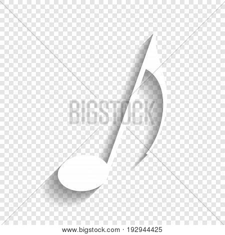 Music note sign. Vector. White icon with soft shadow on transparent background.