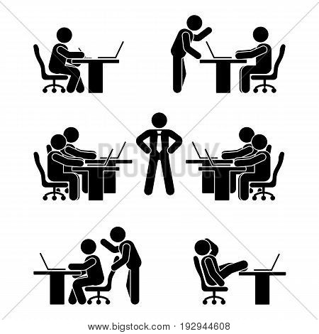 Stick figure poses set. Business finance chart person pc icon. Employee solution vector pictogram
