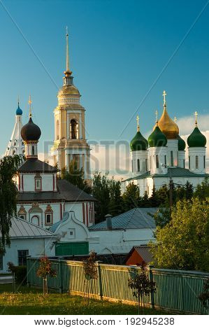 View Of Temples And Belltower On Assumption Cathedral Square Kolomna Kremlin At Sunset Of Sun In Kolomna Moscow Region.