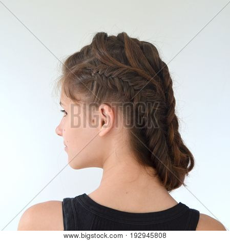 Hairstyle braiding on medium length -  fish tail