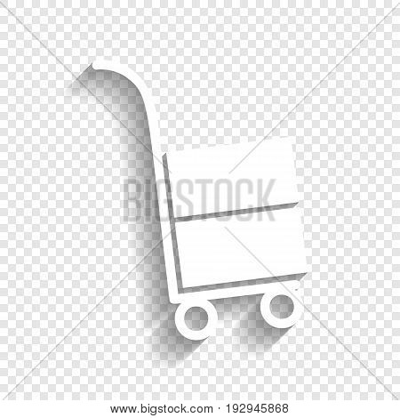 Hand truck sign. Vector. White icon with soft shadow on transparent background.
