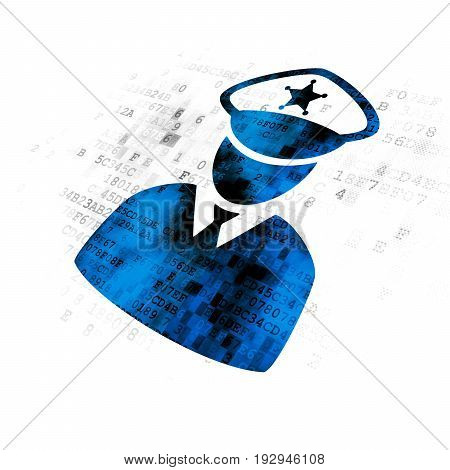 Safety concept: Pixelated blue Police icon on Digital background