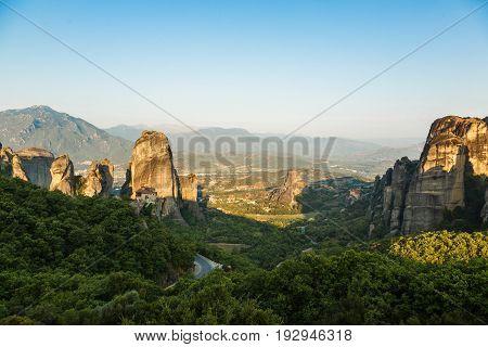 Morning landscape of meteora with monasteries on top of the mountain, Kastraki, Greece