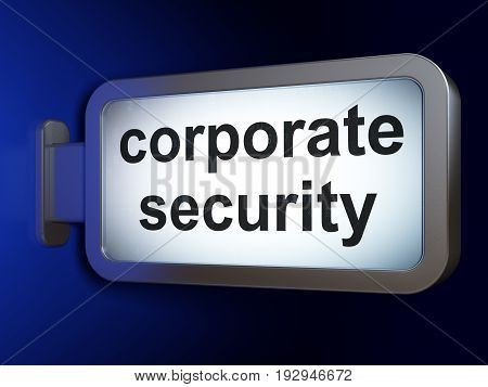 Privacy concept: Corporate Security on advertising billboard background, 3D rendering