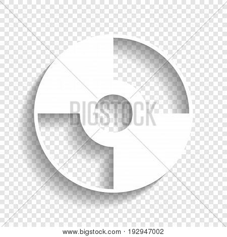 Vector CD or DVD sign. Vector. White icon with soft shadow on transparent background.