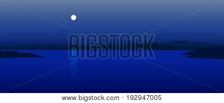 Vector illustration of moonlight landscape with lake and rocks