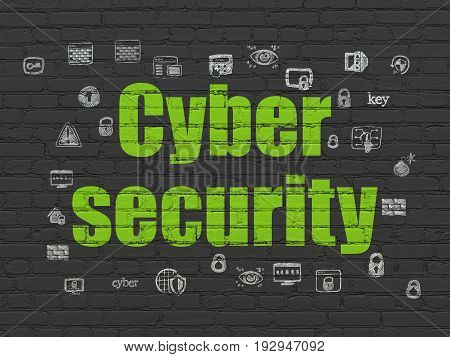 Protection concept: Painted green text Cyber Security on Black Brick wall background with  Hand Drawn Security Icons