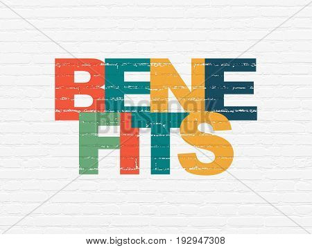 Finance concept: Painted multicolor text Benefits on White Brick wall background
