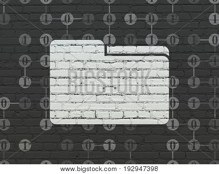 Finance concept: Painted white Folder icon on Black Brick wall background with Scheme Of Binary Code