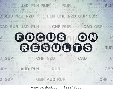 Finance concept: Painted black text Focus on RESULTS on Digital Data Paper background with Currency