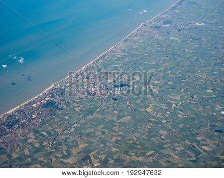 Aerial view of of Veurno Nieuport Koksijde Ostend cities on the Belgian coast