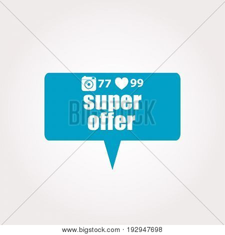 Marketing Concept. Words Super Offer . Labels With Text, Heart, Camera And Counters