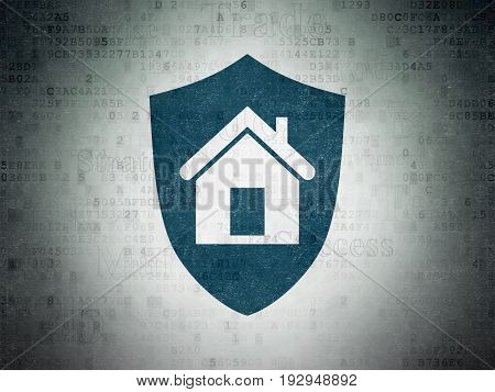 Business concept: Painted blue Shield icon on Digital Data Paper background with  Tag Cloud