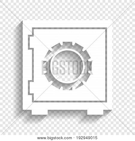 Safe sign illustration, crib, vault, lock box. Vector. White icon with soft shadow on transparent background.