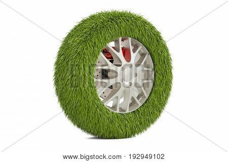 Car tire from grass 3D rendering isolated on white background