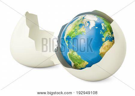 Earth globe inside broken chicken egg 3D rendering