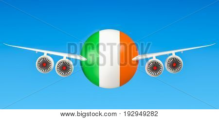 Ireland airlines and flying's concept. 3D rendering