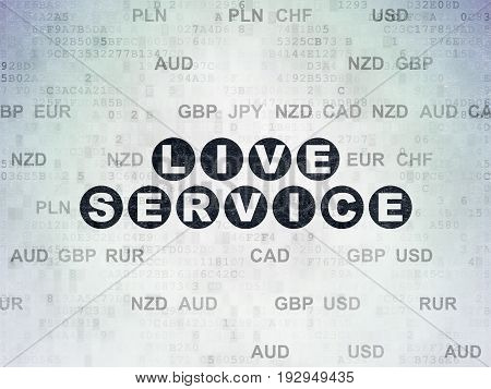 Finance concept: Painted black text Live Service on Digital Data Paper background with Currency
