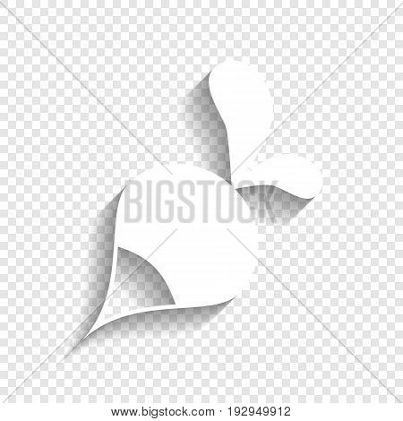 Radish simple sign. Vector. White icon with soft shadow on transparent background.