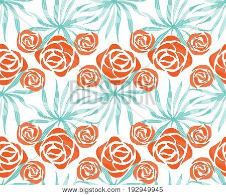 Vector exotic bouquet pattern. Seamless print with tropical flowers, palm leaves. Floral foliage endless print. Swimwear background. Hawaii lei tile.