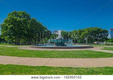 PHILADELPHIA, USA - NOVEMBER 22, 2016: Swann memorial fountain at Logan Circle, downtown Philadelphia, Pennsylvania USA