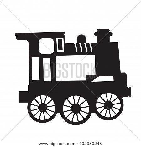 Isolated silhouette of a train toy, Vector illustration