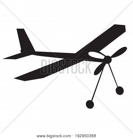 Isolated silhouette of an airplane toy, Vector illustration