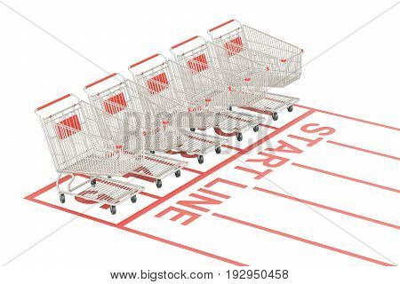 Start sale and discount concept. Shopping carts on the start line 3D rendering