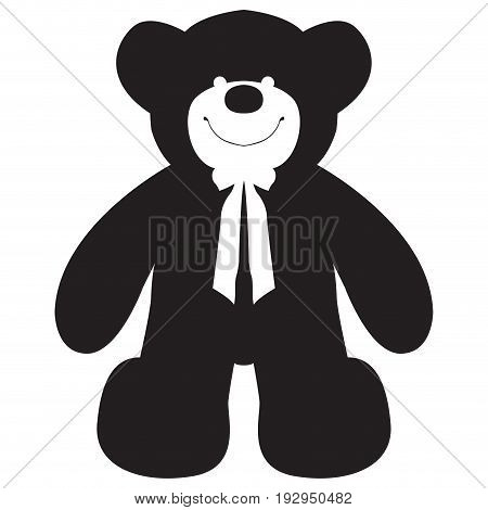 Isolated silhouette of a teddy bear, Vector illustration