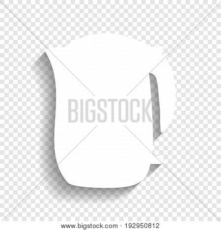 Electric kettle sign. Vector. White icon with soft shadow on transparent background.
