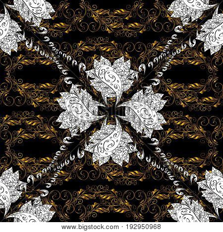 Seamless golden textured curls. Vector golden pattern. Vector illustration. Black background with golden elements. Oriental style arabesques.