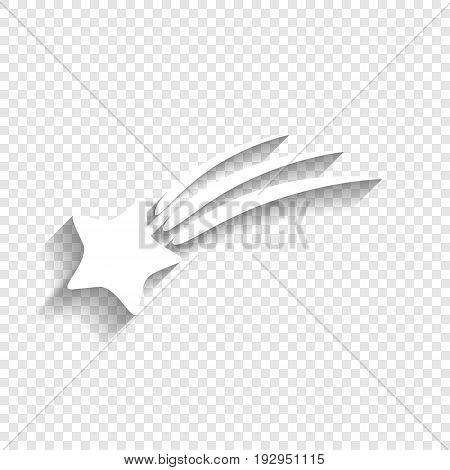 Meteor shower sign. Vector. White icon with soft shadow on transparent background.