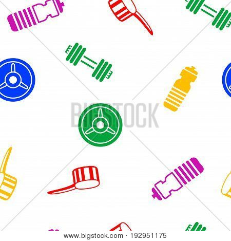 Sport seamless pattern with scooper, barbell and weightlifting plate. Vector