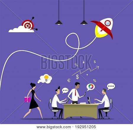 Vector concept of businessman teamwork, brainstorming, creating marketing, successfull startup, Flat design