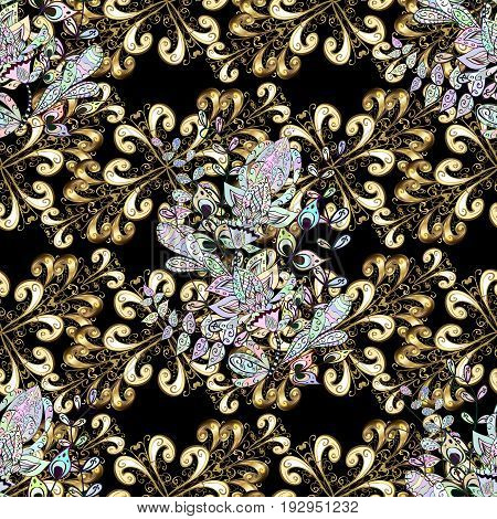 Golden element on black background. Antique golden repeatable sketch. Gold black floral ornament in baroque style. Damask seamless pattern repeating background.