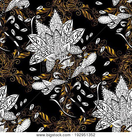 Seamless vintage pattern on black background with golden elements and with white doodles. Christmas snowflake new year.