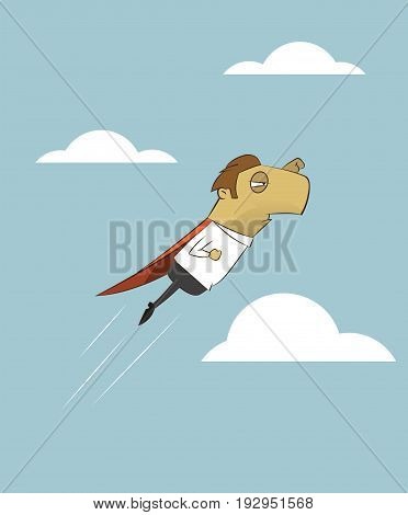 Businessman is flying like superman up to the sky. Start up concept vector illustration.