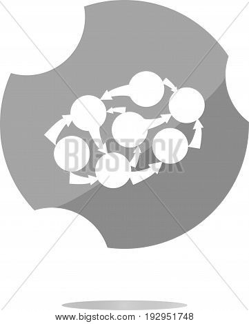 Graph Icon On Button . Trendy Flat Style Sign Isolated On White Background