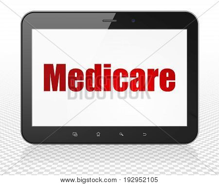 Healthcare concept: Tablet Pc Computer with red text Medicare on display, 3D rendering