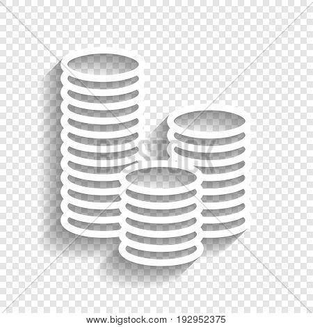 Money sign illustration. Vector. White icon with soft shadow on transparent background.